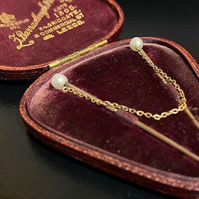 Victorian 15ct, 15k, 625 Rose Gold, solitaire Natural Pearl, cloak, cravat pins