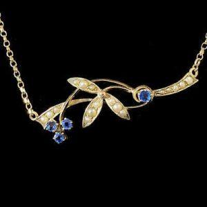 Exquisite, Edwardian 9ct, 9k, 375 Gold Sapphire & Pearl, Necklace, Lavalier