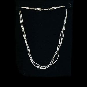 Exquisite Georgian 3 row natural, saltwater basra pearl necklace on silver clasp
