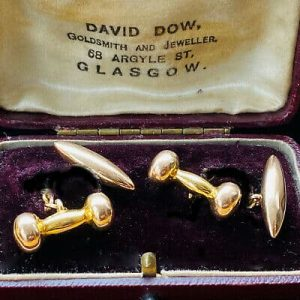Art Deco 9ct, 9k, 375 Gold tornedo & dumb bell cufflinks in antique box, C1927