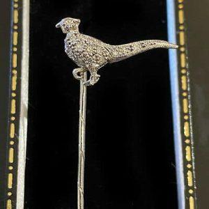 Fine, Vintage 18ct, 18k, 750 Gold Diamond Pheasant, bird, Stick, tie, cravat pin