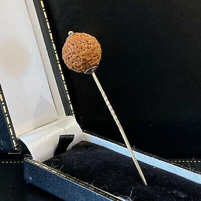 Rare, Victorian 9ct, 9k, 375 Rose Gold Coquilla nut stick, tie, cravat pin
