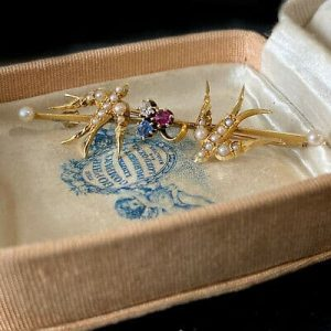 Edwardian15ct Gold Swallow, bird brooch with sapphire, ruby, diamond & Pearls