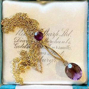 Exquisite, Edwardian 9ct, 9k, 375 Gold Amethyst, double drop Necklace, C1910