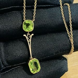 Exquisite, Edwardian 9ct, 9k, 375 Rose Gold Peridot, double drop Necklace, C1910