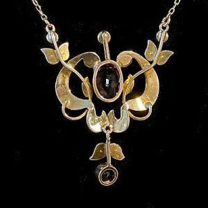 "Art Nouveau 9ct, 9k, 375 Gold """"Rose de France"" Amethyst & seed pearl necklace"