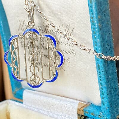 Edwardian Sterling Silver, 'belle epoque' blue enamel & paste necklace,  C1910