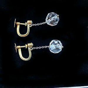 Art Deco, 9ct, 9k, 375 Gold, Rock Crystal bead & Pearl Earrings, screw fittings