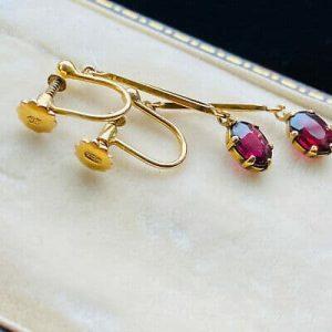 Edwardian 9ct, 9k, 375 Gold, Garnet drop, dangle Earrings with screw fittings