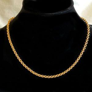 "Vintage 9ct, 9k, 375 yellow Gold belcher link chain, necklace. Length 16"", 41cm"