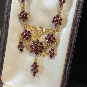 Antique, Victorian Gilt Bohemian Garnet cluster necklace attached to a 9ct chain