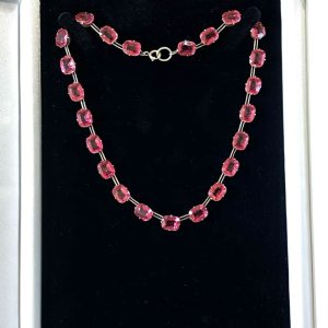 Stunning, Art Deco, Sterling Silver Pink, Magenta paste, riviera necklace, C1935