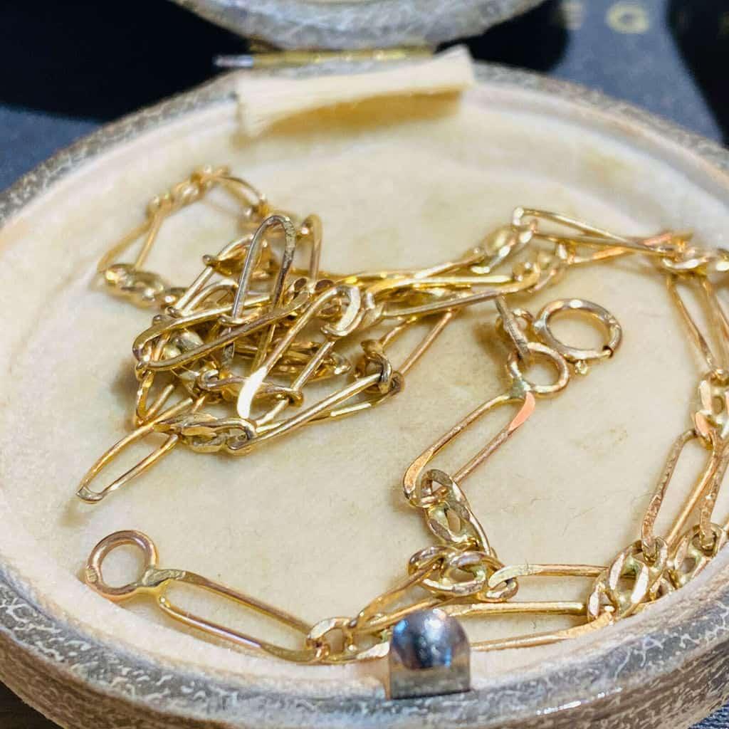 "Lovely, Vintage 9ct, 9k, 375 Gold fancy link chain, length 17.5"" / 44.5cm"