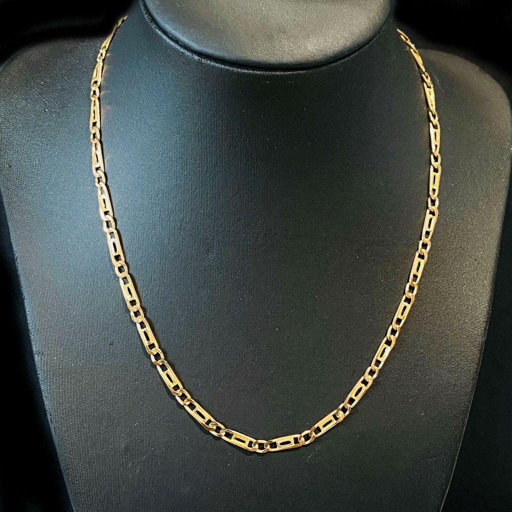 "Stunning, Vintage 9ct, 9k, 375 Gold fancy link chain, length 16"" / 41cm"