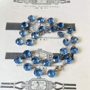 Stunning, Art Deco, Sterling Silver 'corn flower' blue paste, riviera necklace