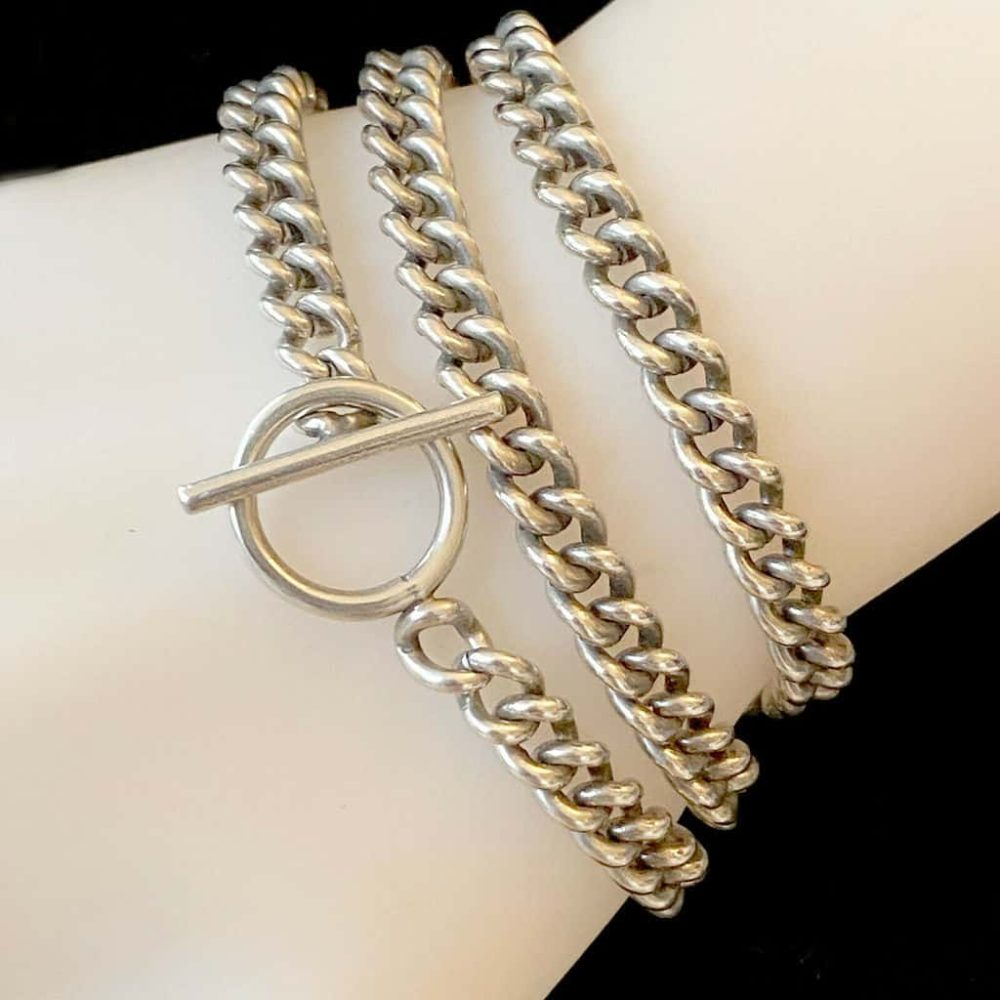 """Heavy, Antique Sterling Silver pocket watch chain, length 19.25 """" / 49cm, 43 grm"""