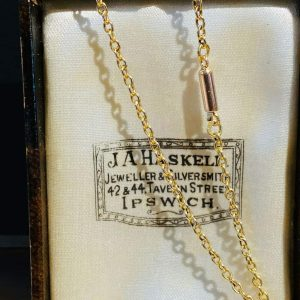 """Lovely Edwardian 15ct, 15k, 625 Gold rolo link chain with barrel clasp, lgth 16"""""""