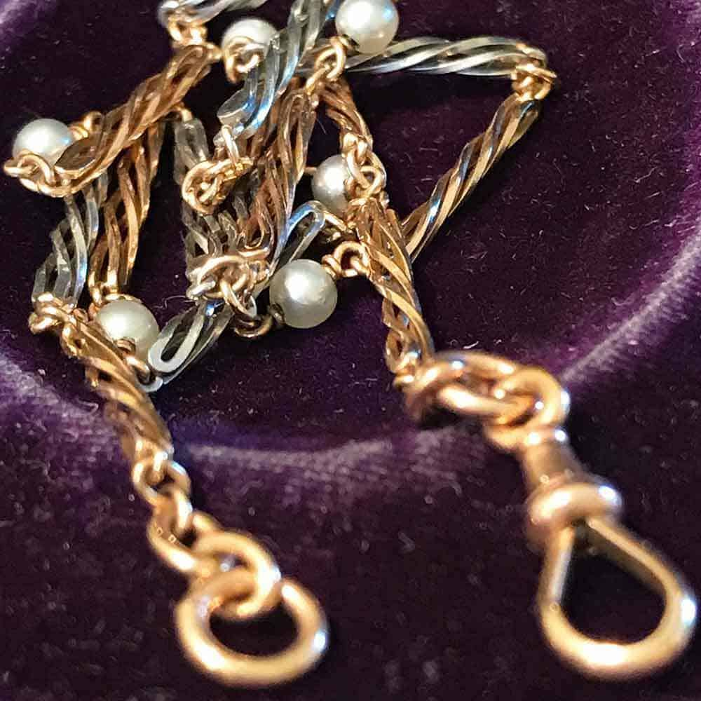 Exquisite, Edwardian 15ct, 15k, 625 Rose & white Gold & Pearl chain