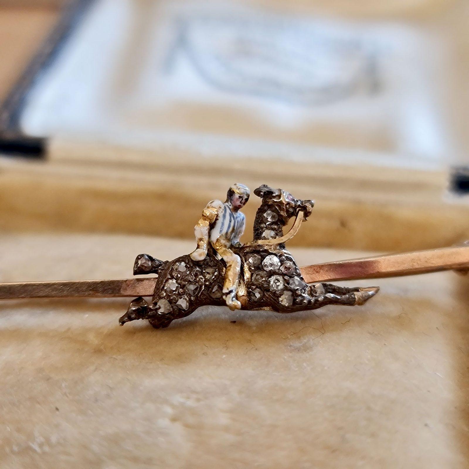 Edwardian 9ct Gold, Diamond & Enamel race horse & Jockey brooch, tie, stock pin