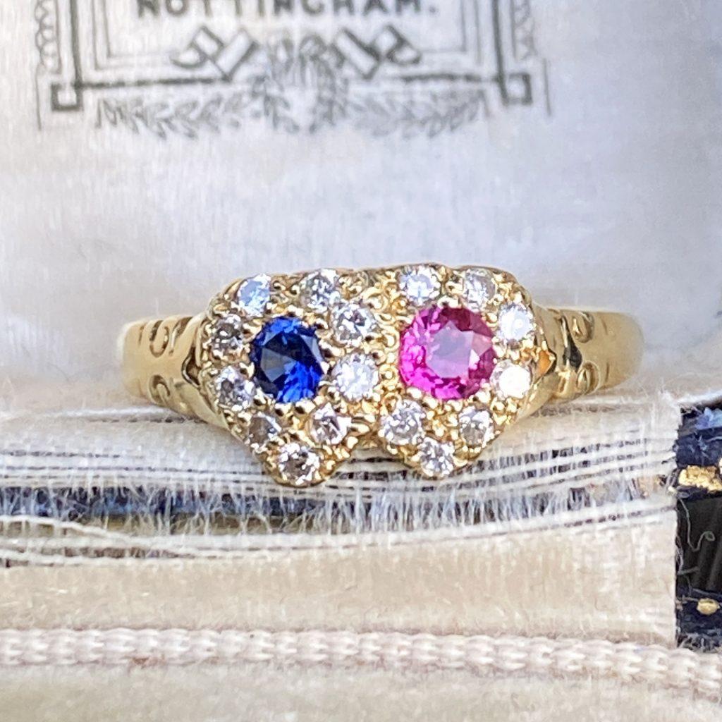 Antique Victorian 18ct, 18k, 750 Gold Sapphire, Ruby & Diamond Double Heart, Romantic Ring