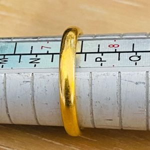 Art Deco 22ct, 22k, 980 solid yellow gold, fidelity, court wedding ring / band, dated 1926