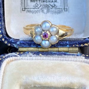 Antique Victorian 18ct, 18k, 750 Gold Natural Pearl & Ruby Daisy, cluster ring