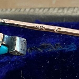 Victorian 18ct gold & Silver Turquoise and diamond cross,stick,cravat pin C1840