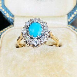 Edwardian 18ct, 18k, 750 gold & Platinum Turquoise & Diamond cluster ring, C1901