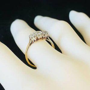 Edwardian 18ct, 18k, 750 Gold & Platinum, Diamond 0.50ct engagement ring C1910