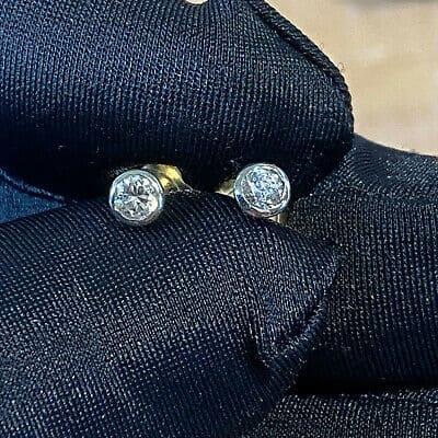 Art Deco, pair of 9ct, 9k, 375 Gold Diamond 0.34ct stud Earrings