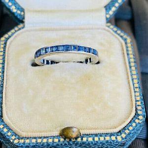 Art Deco Platinum PT950 Sapphire full Eternity anniversary Ring, Circa 1920