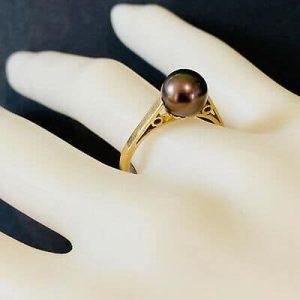 Art Deco 9ct, 9k, 375 Gold black, Saltwater Cultured 7.7mm Pearl Ring, C1935