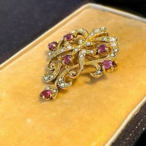 Edwardian style 9ct, 9k, 375 gold Ruby & Pearl, floral heart brooch / pendant