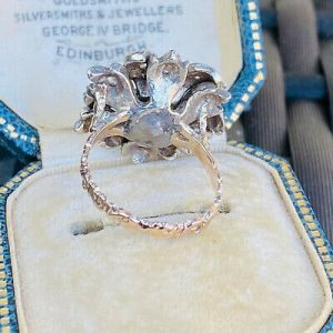 Fabulous, 15ct gold, silver and rose cut diamond, large floral statement ring