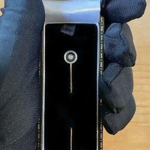 Art Deco 9ct, 9k, 375 Gold black Onyx & Diamond, stick, tie, cravat pin C1920