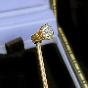 Edwardian 15ct, 15k, 625 Gold Diamond 0.25ct stick, tie, cravat, stock pin C1910