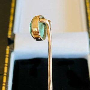 Edwardian 9ct Gold, Turquoise cabochon, Stick, tie, cravat, lapel pin, C1910