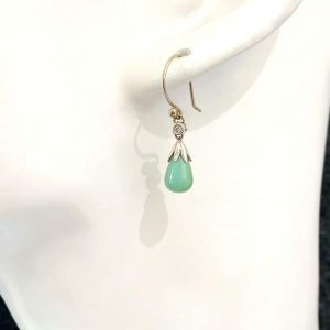 Art Deco style, 14ct Gold Jade and Diamond drop Earrings with hook fittings