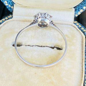 Fine, Art deco, Platinum, old-cut Diamond 0.60ct Daisy, cluster engagement ring