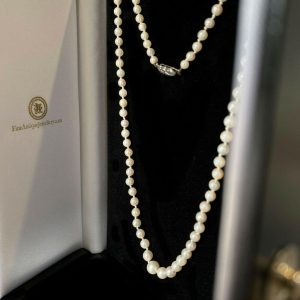 Vintage, Cultured saltwater Pearl Necklace on sterling silver marcasite Clasp