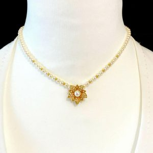 Cultured Saltwater Pearl necklace & 18ct Gold Diamond pave-set pendant, Ldn 1984