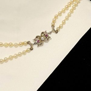 Vintage Cultured, Saltwater Pearl, 2 row necklace on 9ct Gold clasp, Circa 1980