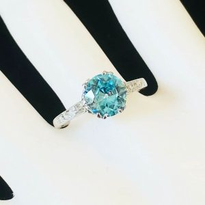 Stunning, Art Deco Platinum, Blue Zircon and Diamond engagement ring, C1920