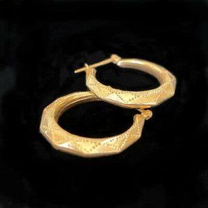 Fabulous, Vintage 9ct, 9k, 375 Gold, faceted hexagonal hoop Earrings