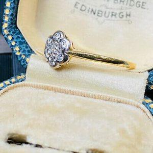 Stunning, Vintage, 18k, 18ct, 750 Gold Diamond, daisy Cluster engagement ring