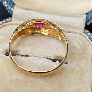 Antique, Victorian 18ct, 18k, 750 Gold Ruby & Diamond Boat Ring, Circa 1890