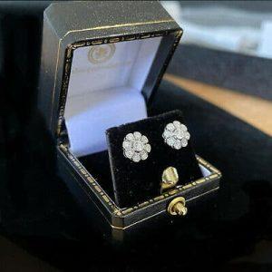 Fabulous 18ct, 18k, 750 White Gold, Diamond Cluster earrings by Luke Stockley