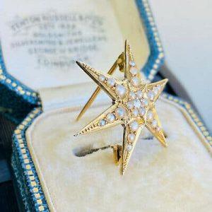 Edwardian 9ct, 9k, 375 Gold Seed Pearl & Diamond Star brooch, pin, Circa 1905