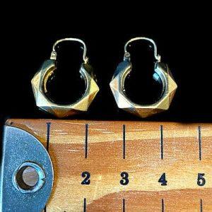 Vintage 9ct, 9k, 375 Gold, faceted hexagonal hoop Earrings, Width:19.8mm