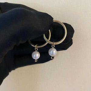 Vintage 9ct, 9k, 375 Gold, hoop Earrings with faux pearl drop, Width: 23.5mm